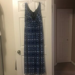 Women's Plus Embellished Blue/Blk Maxi Dress (20)